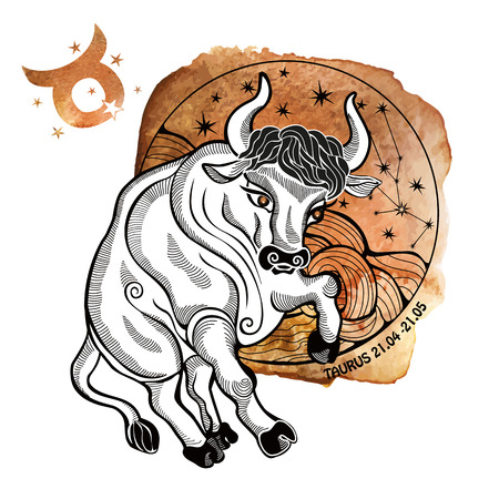 Tairus zodiac sign .Horoscope constellation,stars in circle composition.Brown Watercolor stein,hand painting spot.White background.Symbol,sign of earth.Bull wild  animal.Artistic Vector  Illustration. Vettoriali