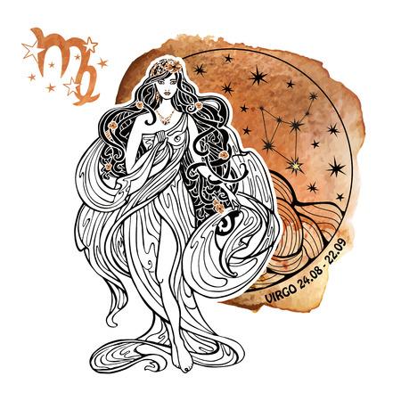 처녀 자리 조디악 sign.Horoscope 별자리, 원 composition.Watercolor 시작 질감, 손 painting.Beautiful 여성, earth.Artistic 벡터 일러스트 레이 션의 female.White background.Symb 일러스트