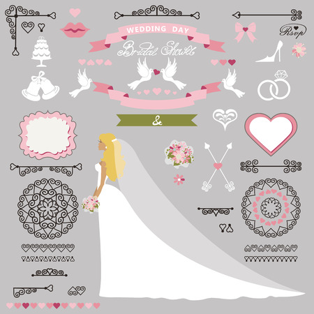 cartoon bouquet: Wedding bridal shower invitation card decor set.Cartoon  bride in long dress, Swirling borders, brushes and ribbon, wreath,icons,heart label.Design template kit,save date card.Vintage Vector Illustration,flat.