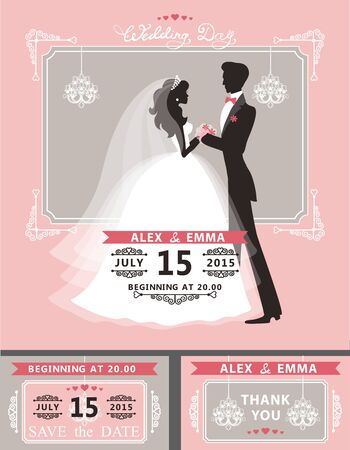 wedding dress: Wedding invitation set.Flat couple silhouette:bride and groom.Retro style:swirling borders frame, ribbon,  chandelier.Design template set,thank you,save date card.Illustration. Stock Photo