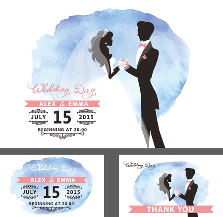 bride and groom illustration: Wedding  Bridal shower invitation template set with watercolor cyan stain.Flat bride and groom portrait silhouettes with hand writing text,swirling borders.Save date, thank you card Vector
