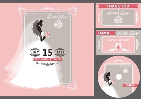cartoon bouquet: Wedding Bridal shower invitation template set.Flat bride silhouette in white dress,veil,.Bouquet, hand writing text,ribbon,swirling borders,frame,chandelier.Save date, thank you card,CD.Cute vintage Vector