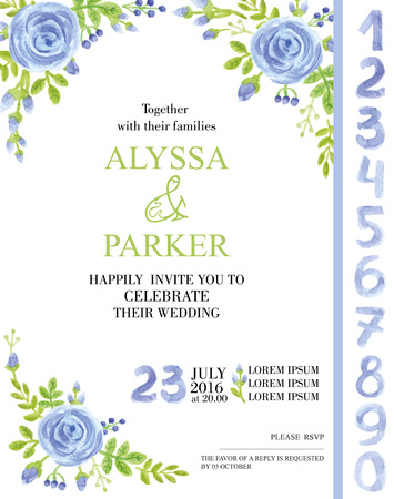 green flowers: Vector Wedding  watercolor invitation cards with flowers elements and calligraphic numbers letters. Cute retro collection with blue roses bouquet, green branches.