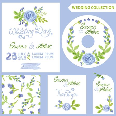 buds: Wedding invitation design template set.Watercolor blue flowers,bud,green branches, wreath,seamless pattern .Decorative hand drawing floral decor.Vintage Vector.Thank you,CD,tag,card