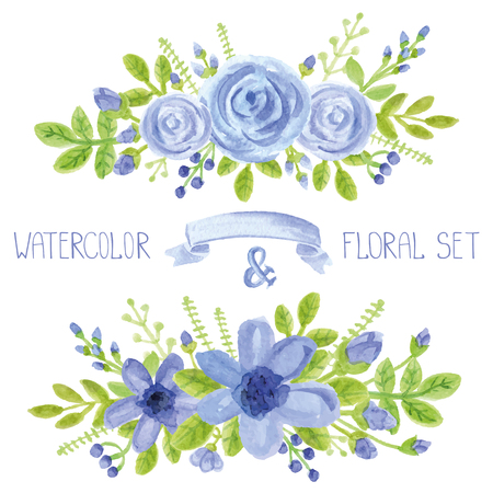 Watercolor blue  flowers,green branches,leaves bouquet set. Hand painted berries,floral,petal ,roses and daisy  decor elements.For design template,invitation.Holiday Vector,wedding card Vettoriali