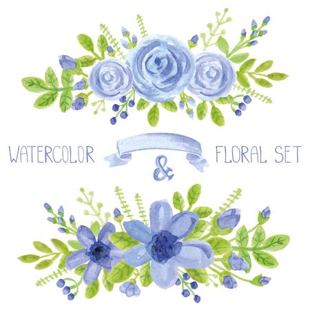 Waterverf het blauwe bloemen, groene takken, bladeren boeket te stellen. Met de hand geschilderd bessen, bloemen, bloemblaadje, rozen en daisy decor elements.For design template, invitation.Holiday Vector, trouwkaart