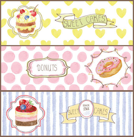 cupcakes isolated: Decorative sweetshop confectionary Watercolor tags labels set with traditional cupcakes design horizontal banners .Vintage abstract vector illustration, isolated.Hand painted .For cafe,holiday