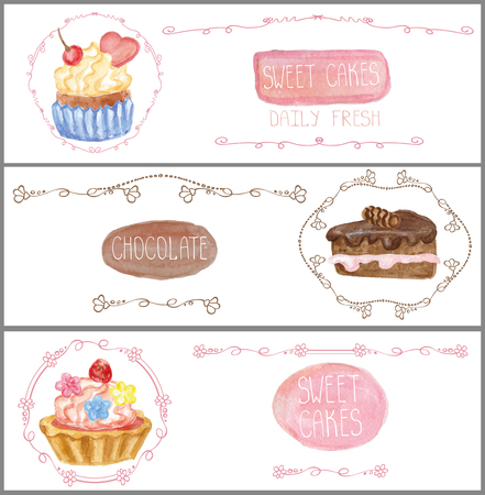 sweetshop: Decorative sweetshop confectionary Watercolor tags labels set with traditional cakes design,Doodles borders.Horizontal banners .Vintage abstract vector illustration, isolated.Hand painted .For cafe,holiday