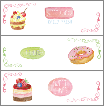 sweetshop: Decorative sweetshop confectionary Watercolor tags labels set with traditional cakes,donuts design horizontal banners .Vintage abstract vector illustration, isolated.Hand painted .For cafe,holiday