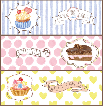 sweetshop: Decorative sweetshop confectionary Watercolor tags labels set with traditional cupcakes design horizontal banners .Vintage abstract vector illustration, isolated.Hand painted .For cafe,holiday