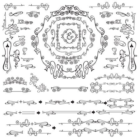 royal wedding: Royal Vector Design Elements.Calligraphic curves,flourish Frames, Borders, Swirls dviders.For Wedding  invitation,save date,Valentine card,restaurant menu.Art Nouveau style.Linear vintage illustration Illustration