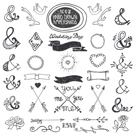 romantic: Doodles  lettering ampersands,catchwords,arrows,wedding romantic decor elements set.Baby hand drawing style,sketchy vintage vector. For weddings,Valentines day,holidays,birthday,design templates,invitations