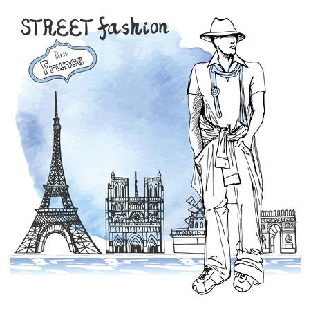 Fashion illustration. Stylish dude men .Doodle outline hand drawing  sketch. Paris landmark  panorama.Watercolor stein.stein. Notre Dame,arc de Triomphe,Eiffel tower, Retro