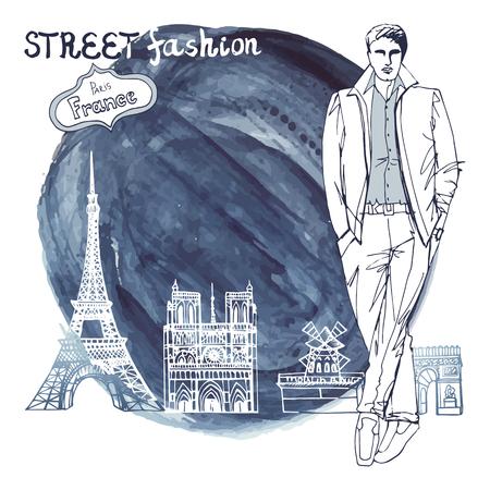 moulin: Fashion vector  illustration. Stylish dude men .Doodle outline hand drawing  sketch. Paris landmark  panorama.Watercolor stein.Notre Dame,arc de Triomphe,Eiffel tower,Moulin Rouge.Retro. Illustration