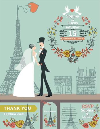 paris street: Vintage wedding invitation.Cartoon flat bride,groom on retro dress on Paris street with Eiffel tower background.Autumn leaves wreath composition.Fall design template,tag,RSVP.Vector illustration.