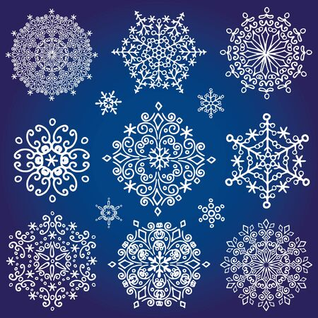 decorative shape: Christmas season.Snowflake big set,Silhouette icon,Winter elements.New year holiday decoration.Round  shape, crystal Vector.Doodle illustration