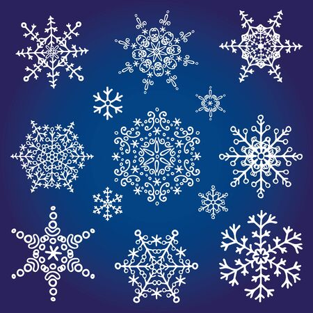 vacanza: Grande set di Natale season.Snowflake, icona Silhouette, Inverno elements.New anno decoration.Round vacanza, forma Stella, cristallo Vector.Doodle illustrazione