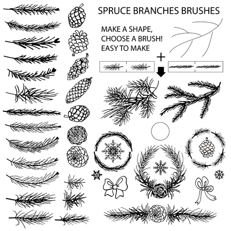 Spruce branches,pine,cones black silhouette set.Brushes,wreath,line borders.Christmas tree decor elements for invitations,card,banner.New year holiday vector,nature Winter template Vettoriali