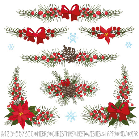 corner: Merry Christmas,new year decor set.Garland borders  and corners.Spruce fir tree branches,pine cones ,red berries,Poinsettia flower,holly.Holiday Vector Illustration for greeting cards,invitation,web,print