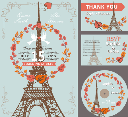 Wedding invitation set with autumn leaves wreath,pigeons,swirling borders.Paris Eiffel tower  background.Cute fall design template.Vintage Vector illustration.For save date cards,RSVP, CD disk