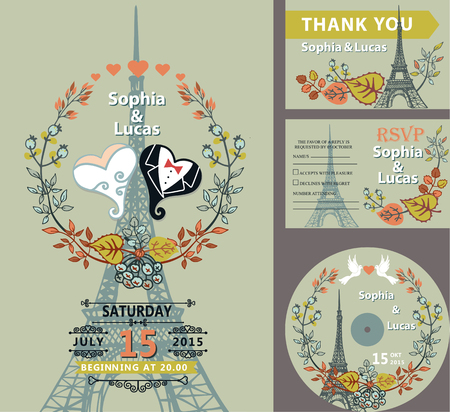 save the date: Wedding invitation set.Autumn leaves and branches,hearts bride and groom.Paris Eiffel tower background.Cute fall design template.Vintage Vector illustration.For save date cards,RSVP, CD disk Illustration
