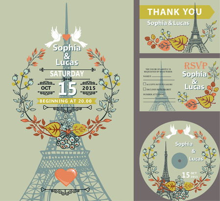 save the date: Wedding invitation set with autumn leaves wreath,pigeons.Paris Eiffel tower  background.Cute fall design template.Vintage Vector illustration.For save date cards,RSVP, CD disk