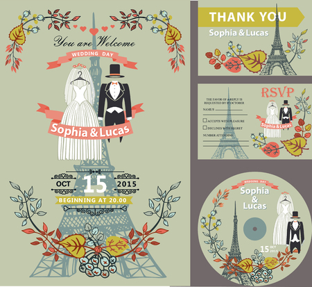 eiffel: Wedding invitation set.Autumn leaves and branches, bride and groom retro dresses.Paris Eiffel tower background.Cute fall design template.Vintage Vector illustration.For save date cards,RSVP, CD disk