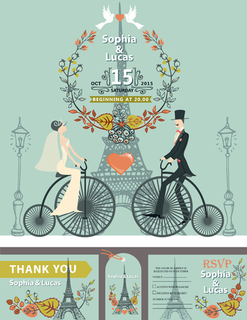 Vintage wedding invitation.Cartoon flat bride,groom on retro bike on Paris street with Eiffel tower background.Autumn leaves wreath composition.Fall design template,tag,RSVP.Vector illustration. Ilustração