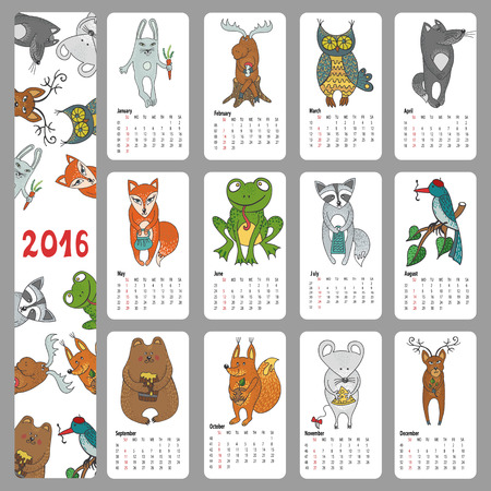 frog: Calendar 2016 new year.Woodland animals set.Hand drawing doodleVector illustration,baby style.Bird, squirell, mouse and rog,elk and raccoon,hare and wolf,fox,bear and frog,deer,owl