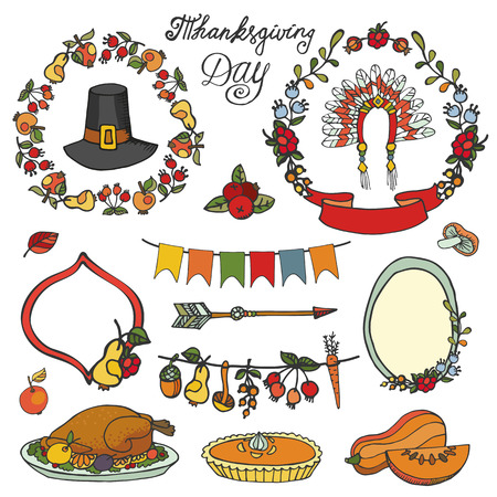 holiday dinner: Thanksgiving day icons,doodle set.Autumn harvest decor elements,wreath,badges and ribbons.Hand drawing holiday dinner symbols ,owl and  turkey. Colorful vintage vector illustration,scrapbooking.