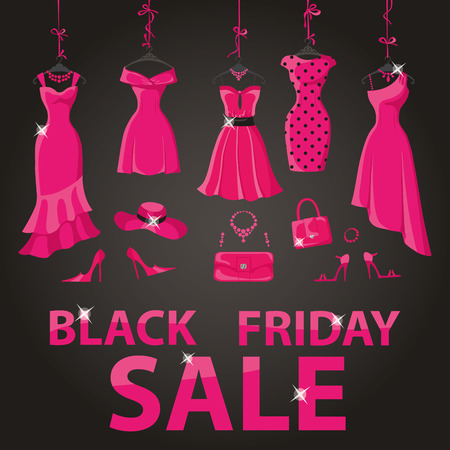 party wear: Black friday Big Sale.Pink party dresses hanging on the ribbon with accessories and title.Typographic design,black background.Fashion wear,vector Illustration.Christmas,winter shopping,retail,discount poster