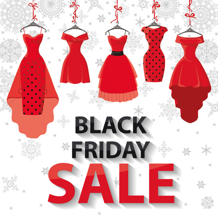 party wear: Black friday Big Sale.Colored party dresses hanging on the ribbon with accessories and title,snowflakes.Typographic design,background.Fashion wear,vector Illustration.Christmas,winter shopping,retail,discount poster Illustration