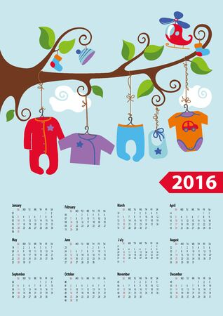 hanging clothes: Calendar 2016.Baby clothes for newborn baby boy hanging on the rope on  the branches of a tree.Cartoon flat vector.Week starts from sunday,american.Vector illustration. Illustration
