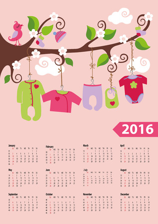modern girl: Calendar 2016.Baby clothes for newborn baby boy hanging on the rope on  the branches of a tree.Cartoon flat vector.Week starts from sunday,american.Vector illustration. Illustration