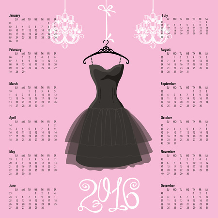 Calendar 2016 year.Black Dress Design.Silhouette of woman little black dress with chandelier and numbers.Pink background.Fashion Vector illustration.