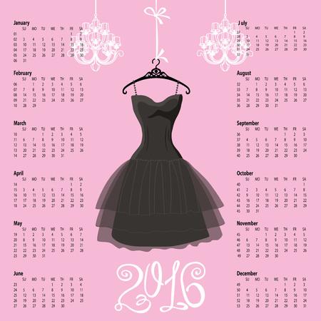 Kalender 2016 year.Black Dress Design.Silhouette van de vrouw little black dress met kroonluchter en numbers.Pink background.Fashion Vector illustratie.