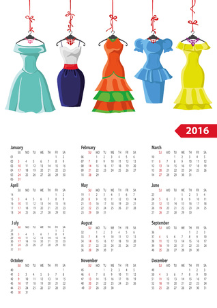 dress shoe: Calendar 2016 with Woman fashion.Colord Dresses on a hanger and accessories set.Summer party.New year holiday Vector  illustration,background.Week starts from sunday,american.Vertical