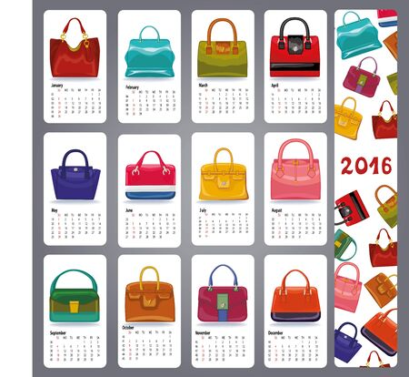handbags: Calendar 2016 new year.Fashion women handbags set.Casual and festive Multicolored icons.Fashion illustration,vector collection.Isolated object with shadow on white background,and pattern banner
