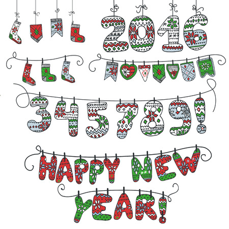 rope folk: New year 2016.Christmas doodle garland of knitted numbers,letters,socks .Hand draw style.For Design template,card,invitation,advertising,banner,calendar.Vintage vector illustration