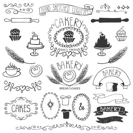 Vintage Retro bakkerij kentekens, etiketten, logo's. Gekleurde hand geschetst doodles en ontwerp elementen brood, brood, tarwe oor, taart pictogrammen, rand, lint. Makkelijk om logo te maken. Overzicht Vector