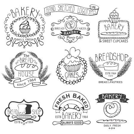 bread loaf: Vintage Retro Bakery Badges,Labels,logos.Outline hand sketched doodles and design elements bread, loaf, wheat ear, cake icons. Vector Illustration