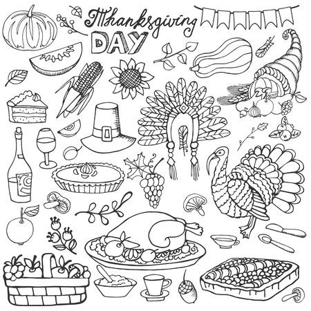 thanksgiving day symbol: Giorno del Ringraziamento icone, scarabocchiare arredamento raccolto set.Autumn elements.Hand disegno simboli di festa. Lineare illustrazione vettoriale vintage.