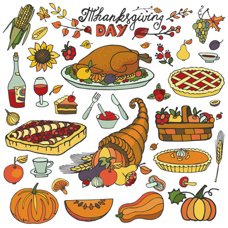 holiday dinner: Thanksgiving day icons,doodle food set.Autumn harvest decor elements.Hand drawing holiday dinner symbols and cornucopia. Colorful vintage vector illustration.