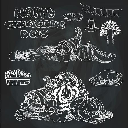 cornucopia: Thanksgiving day doodle set.Autumn harvest decor elements,cornucopia,Turkey,group,title.Hand drawing holiday symbols.Linear vintage vector illustration.Chalkboard background Illustration