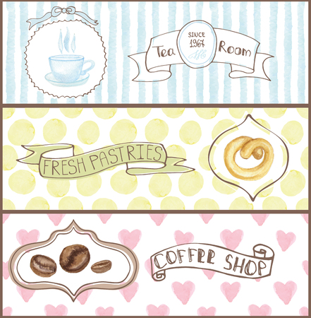 cofe: Decorative cofe ,tea room confectionary Watercolor tags labels set with traditional cap, coffee beans,pretzel  design horizontal banners .Vintage abstract vector illustration, isolated.Hand painted Illustration