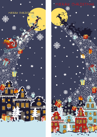 background house: Christmas ,new year vertical banners.Santa Claus sleigh with reindeer fly over the city and throws gifts on the background of the moon. House in Dutch style.Vertical  Design template,invitation card