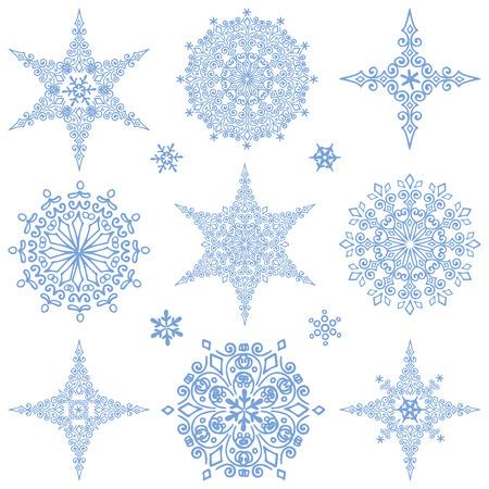 copo de nieve: Copo de nieve gran conjunto, Silueta icono, Invierno elements.Christmas, aislado vacaciones de a�o nuevo decor.Star y encaje shape.Ornate redonda, garabatos rosette.Vector. Vectores