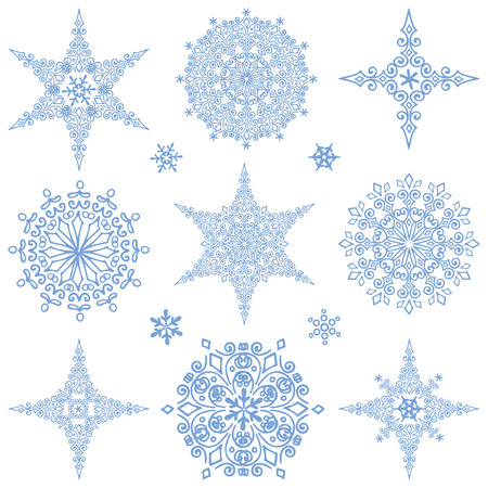 Sneeuwvlok grote set, Silhouette pictogram, Winter elements.Christmas, nieuwe jaar geïsoleerd decor.Star en rond shape.Ornate kant, rosette.Vector doodles. Stock Illustratie
