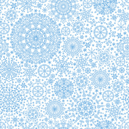 wallpape: Snowflakes  lace seamless pattern.Christmas,New year winter ornament,wrap or  wallpaper.Cyan  Vector.Christmas,winter illustration.Holiday background Illustration