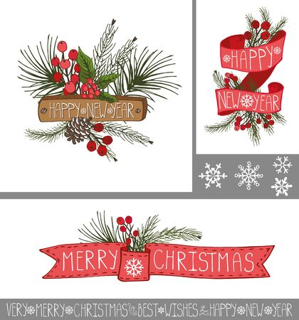 red berries: Merry Christmas and happy new year greeting cards and banners set.Spruce fir tree branches,pine cones ,red berries,holly,ribbons with lettering in holiday composition.Vector Illustration.Vintage,retro Illustration